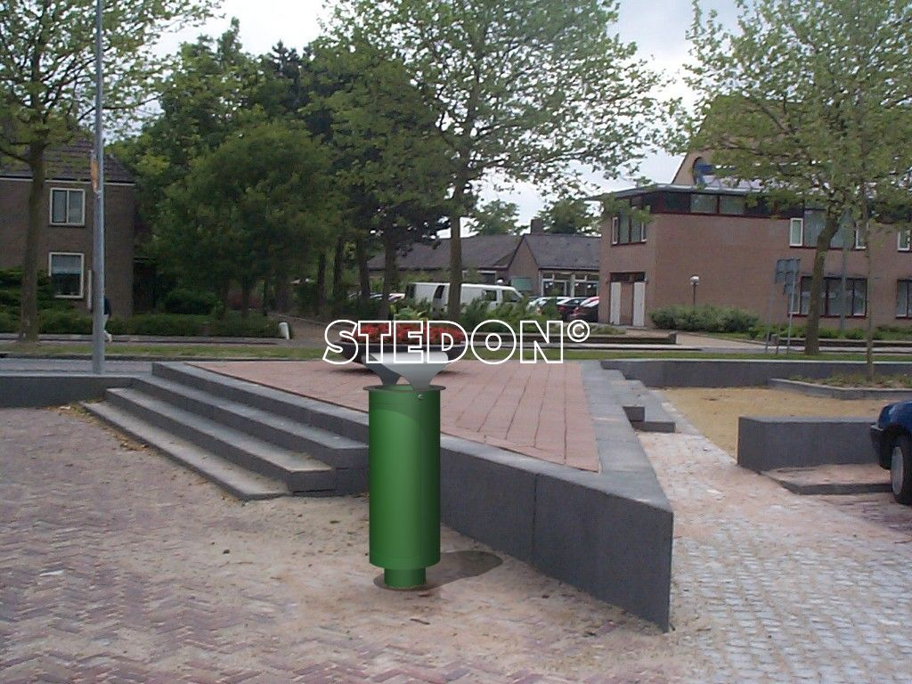 Cilinder HD afvalbak straatmeubiliar