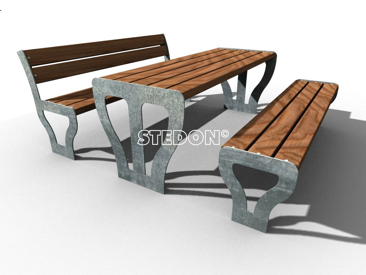 banken en picknicksets straatmeubilair