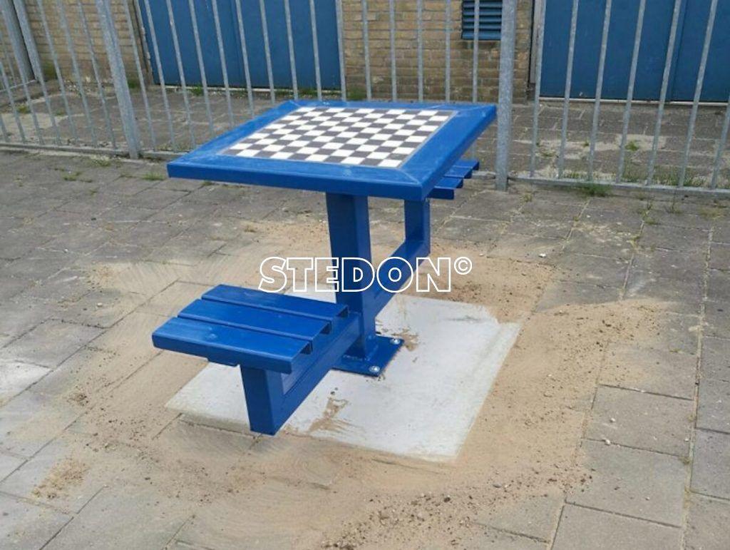 dam schaakset blauw