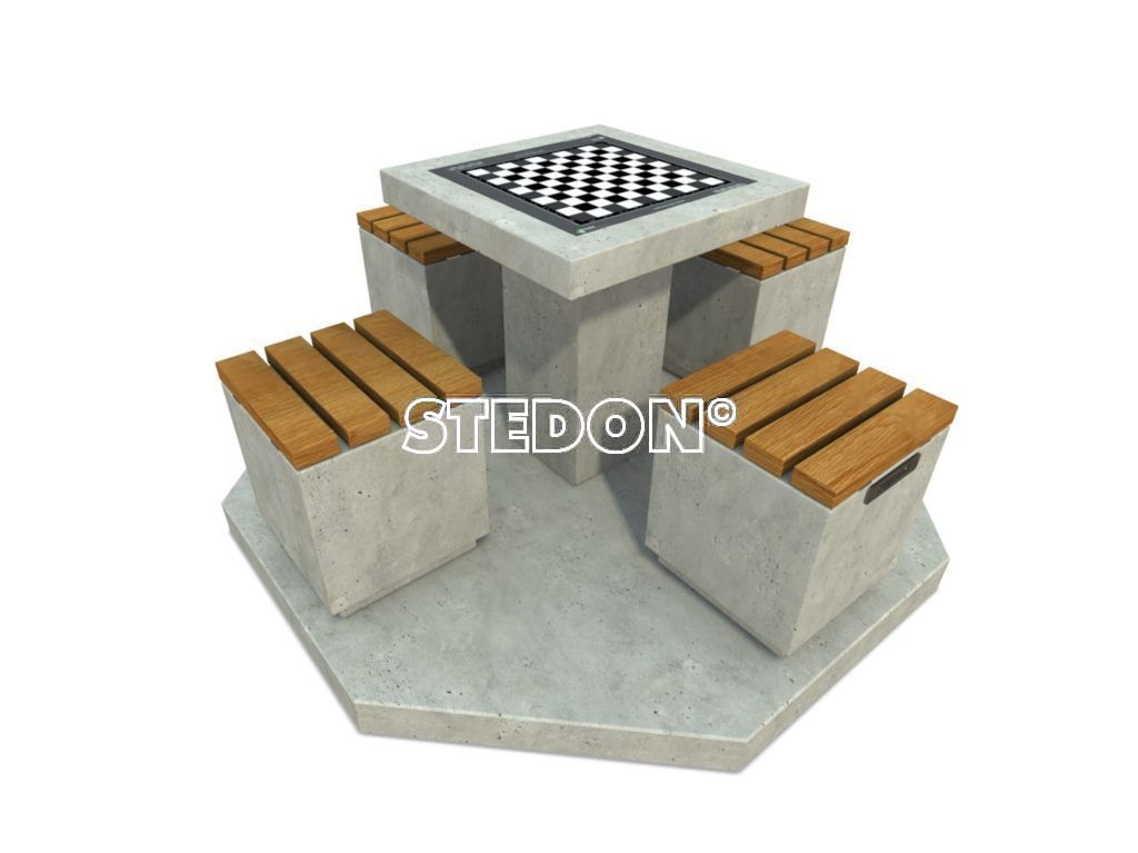Dam schaak tafel, dam tafel, schaak tafel, game table, picknicktafel beton,