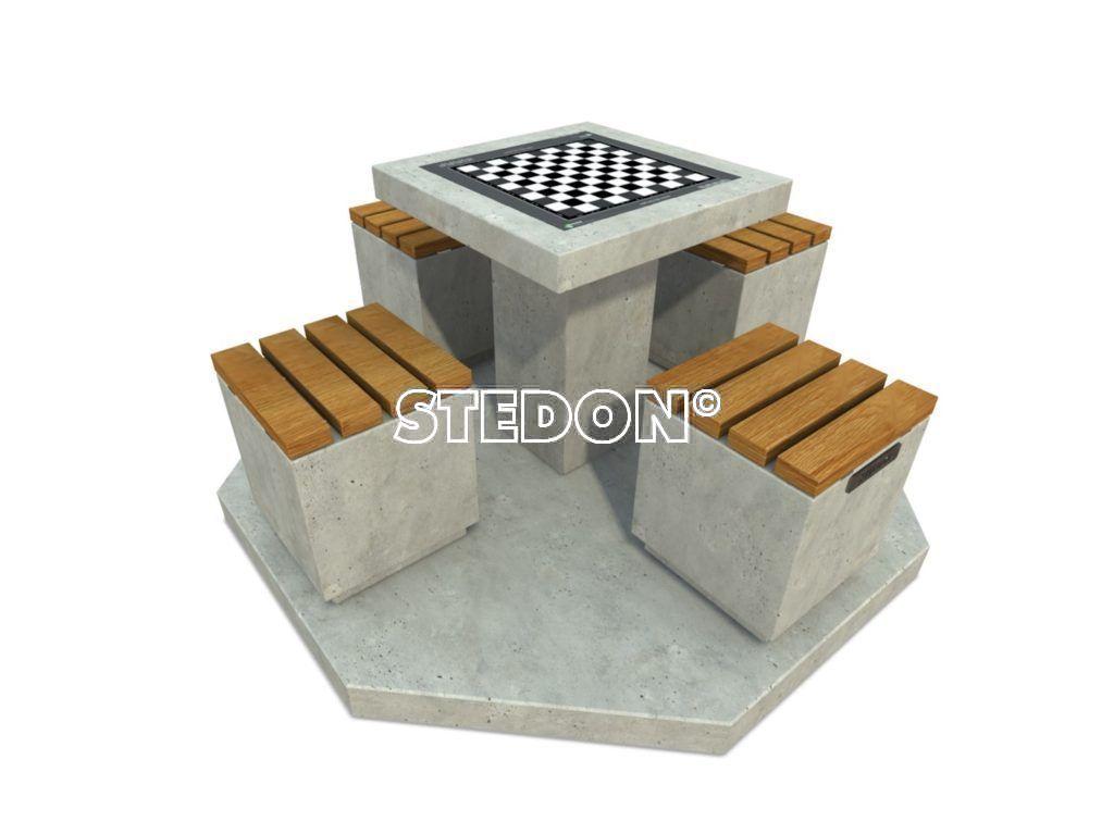 Dam schaak tafel, dam tafel, schaak tafel, game table, picknicktafel beton,