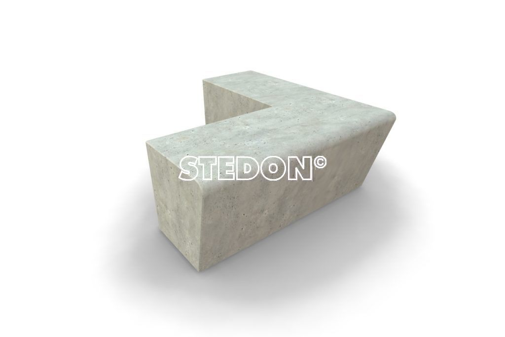 90˚ Hoek toelopend element beton, Zit element, zit elementen, zitelement, zitelementen, beton, betonnen zit element, zitblok, zitblok 90˚ hoek