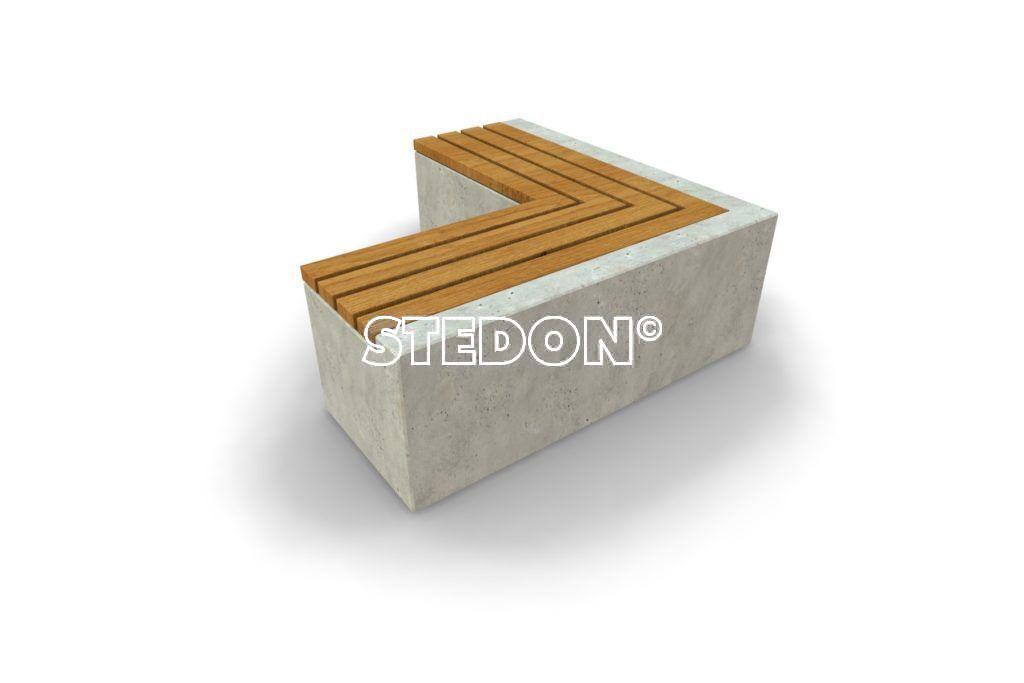 90˚ Hoek element beton, beton met houten zitting, beton element met houten zitting, zitting hout, Zit element, zit elementen, zitelement, zitelementen, beton, betonnen zit element, zitblok, zitblok 90˚ hoek
