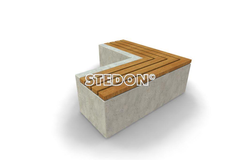 Hoek element beton, beton met houten zitting, beton element met houten zitting, zitting hout, Zit element, zit elementen, zitelement, zitelementen, beton, betonnen zit element, zitblok, zitblok hoek