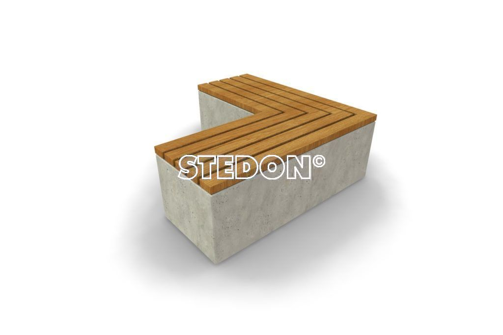 90˚Hoek element beton, beton met houten zitting, beton element met houten zitting, zitting hout, Zit element, zit elementen, zitelement, zitelementen, beton, betonnen zit element, zitblok, zitblok 90˚ hoek