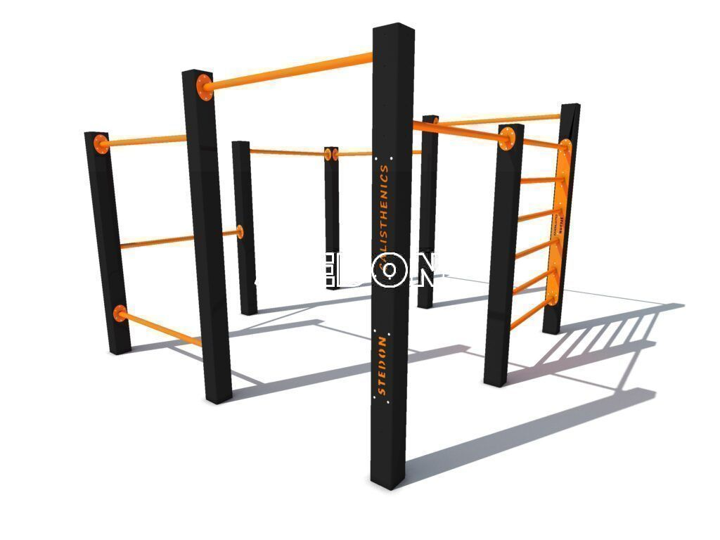 Multi bar calisthenics,Modulair calisthenics, Monkeybar pull up bar, Monkeybars plus side bars, pull up bar, Calisthenics multi toestel, Calisthenics platform, calisthenics platforms, parcour monkeybar, parcour, Calisthenics toestellen,