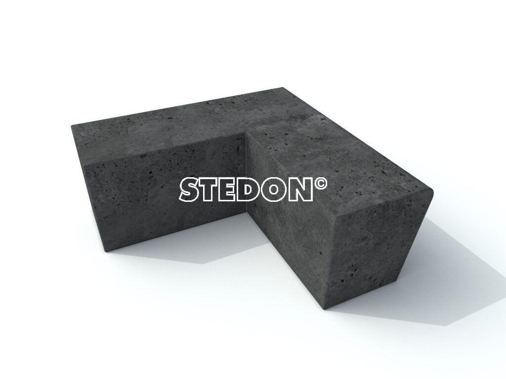 Antraciet beton, Parkranden, stadsranden, Parkrand, 90˚Hoek element beton, Zit element, zit elementen, zitelement, zitelementen, beton, betonnen zit element, zitblok, zitblok 90˚ hoek, antraciet beton
